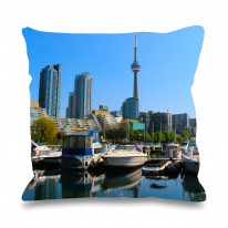 Toronto Harbour Canada Faux Silk 45cm x 45cm Sofa Cushion