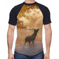 Stag in Forest Men's All Over Graphic Contrast Baseball T Shirt