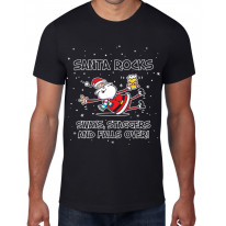 Santa Rocks Sways Staggers and Falls Over Funny Christmas Men's T-Shirt