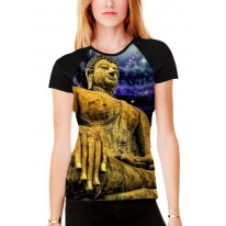 Buddha Under Night Sky Women's All Over Graphic Contrast Baseball T Shirt