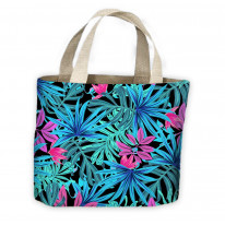 Tropical Leaves Neon Pattern All Over Tote Shopping Bag For Life