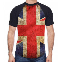 Union Jack British Flag Men's All Over Graphic Contrast Baseball T Shirt
