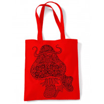 Magic Mushrooms Large Print Tote Shoulder Shopping Bag