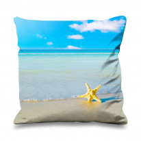Starfish on Beach Faux Silk 45cm x 45cm Sofa Cushion