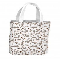 Yoga Cat Grey Pattern All Over Tote Shopping Bag For Life