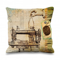 Sewing Machine Drawing Vintage Faux Silk 45cm x 45cm Sofa Cushion