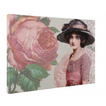 Vintage Edwardian Rose and Woman Box Canvas Print Wall Art - Choice of Sizes