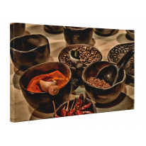 Spices in Bowls Box Canvas Print Wall Art - Choice of Sizes