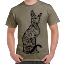 Cat With Tattoos Hipster Large Print Men's T-Shirt