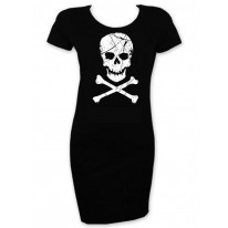 Skull and Crossbones Short Sleeve T-Shirt Dress