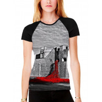 Tower of London Poppies Black and White Women's All Over Graphic Contrast Baseball T Shirt