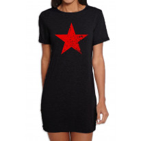 Red Communist Star Cuba Women's T-Shirt Dress