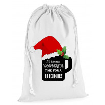 Its The Most Wonderful Time For a Beer Christmas Presents Stocking Drawstring Santa Sack
