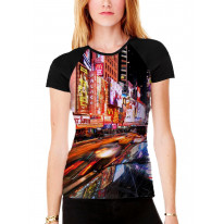 New York Times Square Women's All Over Graphic Contrast Baseball T Shirt