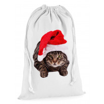Christmas Cat In Santa Claus Xmas Presents Stocking Drawstring Sack