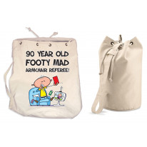 Footy Mad Armchair Referee Men's 90th Birthday Present Duffle Backpack Bag