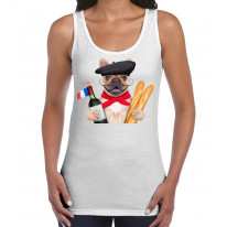 French Bulldog With Wine and Baguette Women's Tank Vest Top