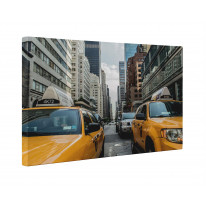New York Street Scene with Taxis Box Canvas Print Wall Art - Choice of Sizes