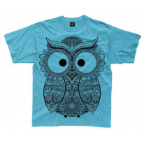 Cross Eyed Owl Large Print Kids Children's T-Shirt