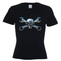 Biker Jolly Roger Womens T-Shirt
