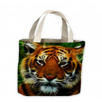 Abstract Tiger Face Tote Shopping Bag For Life