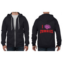 I Love Zombies Full Zip Hoodie