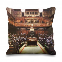 Banksy Monkey Parliament Faux Silk 45cm x 45cm Sofa Cushion
