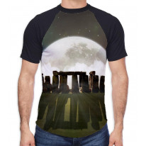 Stonehenge Moon Men's All Over Graphic Contrast Baseball T Shirt
