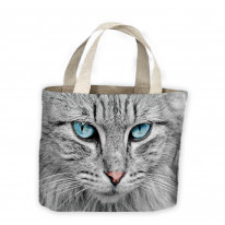 Grey Cat with Blue Eyes Tote Shopping Bag For Life