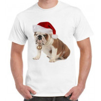 British Bulldog Santa Claus Mens Christmas T-Shirt