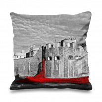 Tower of London Poppies Black and White Faux Silk 45cm x 45cm Sofa Cushion