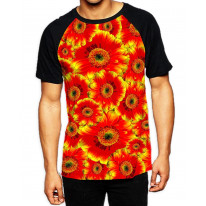Red Flowers Pattern Men's All Over Print Graphic Contrast Baseball T Shirt