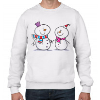 Snowman and Snow Woman Christmas Men's Jumper \ Sweater