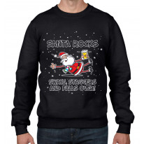 Santa Rocks Sways Staggers and Falls Over Funny Christmas Men's Sweater \ Jumper