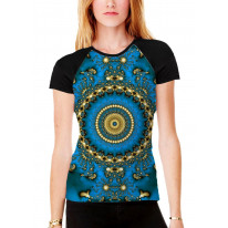 Tie Dye Pattern Women's All Over Graphic Contrast Baseball T Shirt
