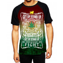 Get Up Stand Up Reggae Men's All Over Graphic Contrast Baseball T Shirt