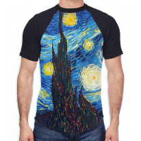 Van Gogh Starry Night Men's All Over Graphic Contrast Baseball T Shirt