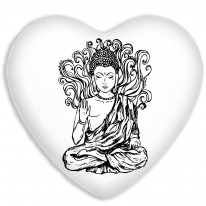 Buddha Buddhism Faux Silk Heart Shaped Sofa Cushion
