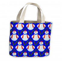 Christmas Snowman Holly Pattern Tote Shopping Bag For Life