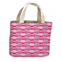 Pink Rudolph Christmas Pattern Tote Shopping Bag For Life