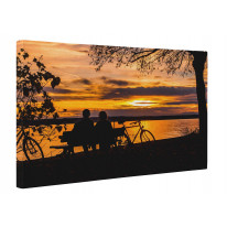 Couple Sat by Lake with Autumn Sunset Box Canvas Print Wall Art - Choice of Sizes