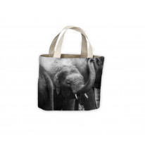 Baby Elephant Black and White Tote Shopping Bag For Life
