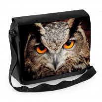 Eagle Owl Face Dark Background Laptop Messenger Bag