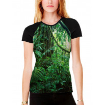 Tropical Jungle Forest Women's All Over Graphic Contrast Baseball T Shirt