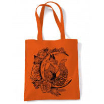 Fox With Crescent Moon Hipster Tattoo Large Print Tote Shoulder Shopping Bag