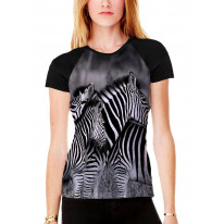 Three Zebra's Heads Women's All Over Graphic Contrast Baseball T Shirt