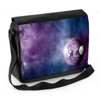 Earth and Moon in Space Laptop Messenger Bag