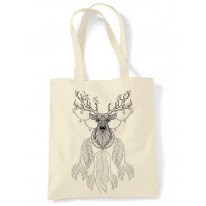 Dreamcatcher With Stags Head Hipster Large Print Tote Shoulder Shopping Bag