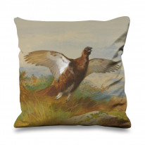 Archibald Thorburn Red Grouse In Flight Faux Silk 45cm x 45cm Sofa Cushion