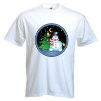 Snowman With Tree Men's Christmas T-Shirt